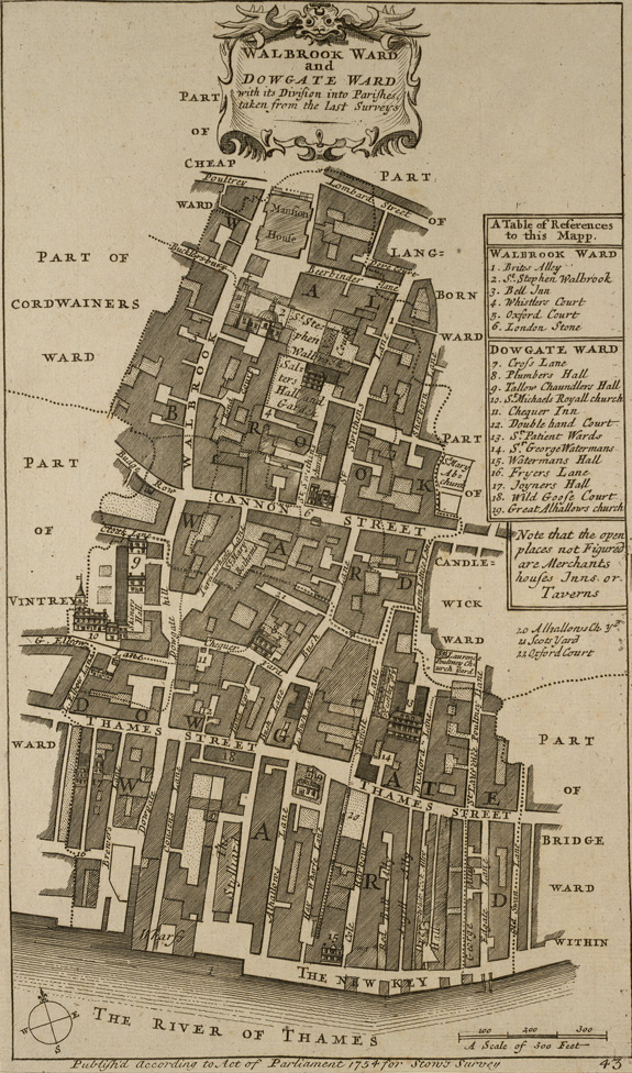 Walbrook ward and Dowgate ward with its division into parishes, taken from the last surveys (1754)